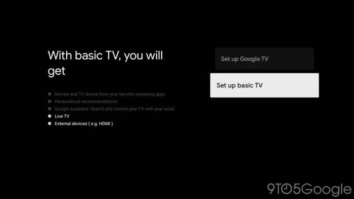 Google TV oferece modo básico só com canais e portas HDMI (Imagem: reprodução/9to5Google)