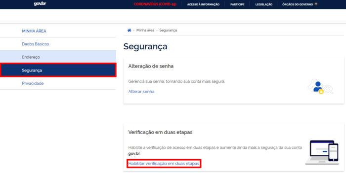 Autenticação em duas etapas no site Gov.br (Imagem: Reprodução/Governo Federal) / gov br login
