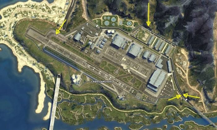 Pontos de salto para entrar no Forte Zancudo em GTA 5 (Imagem: Reprodução/Rockstar Games)