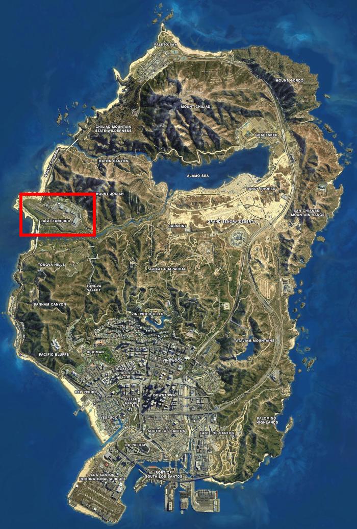 Localização do Forte Zancudo no mapa de GTA 5 (Imagem: Reprodução/Rockstar Games)