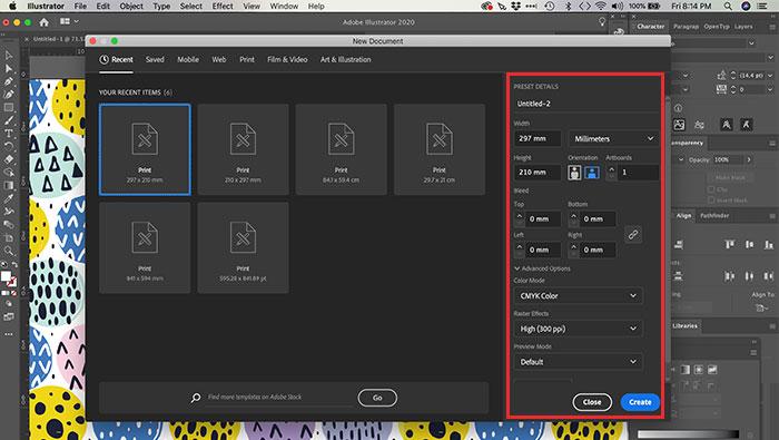 Criando arquivo no Illustrator
