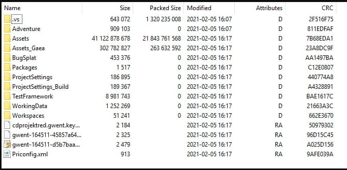 Pasta contendo arquivos do código de Gwent (Imagem: Reprodução)