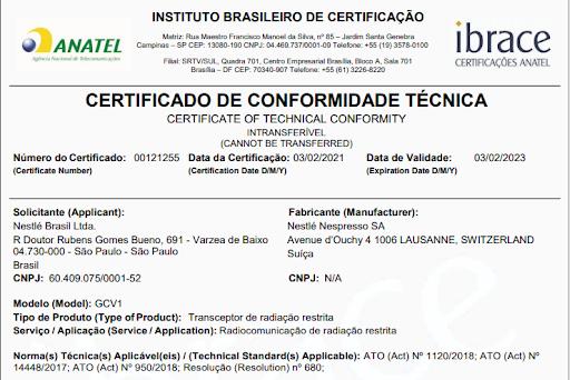 Certificação de conformidade técnica da Nespresso Vertuo Next
