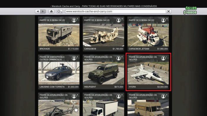 É possível comprar o Hydra na loja online do GTA (Imagem: Reprodução / GTA 5)