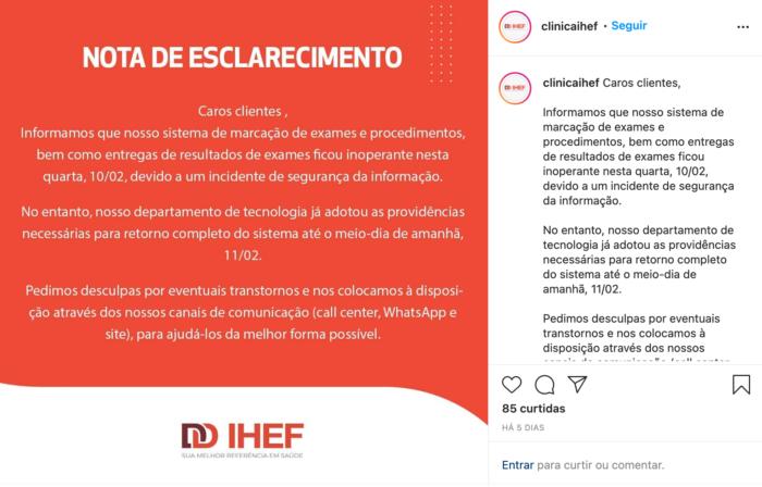 """IHEF avisa sobre """"incidente de segurança"""" (Imagem: Reprodução / Instagram)"""