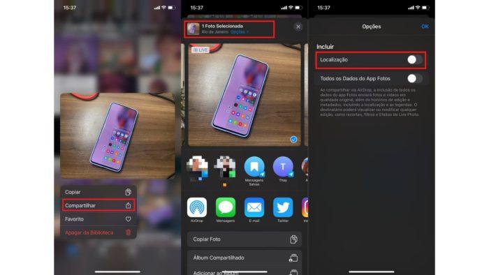 Como apagar a localização antes de compartilhar fotos no iPhone