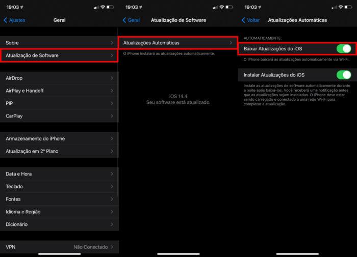 Procedimento para desligar downloads automáticos no iPhone (Imagem: Reprodução/Apple)