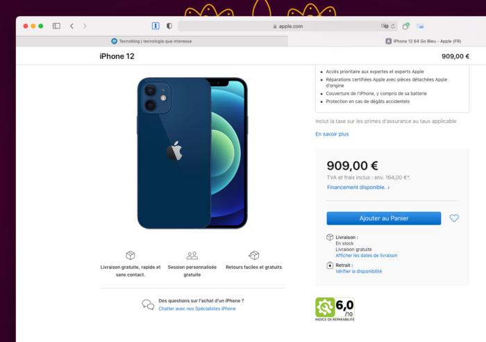 Apple Store da França com índice de reparabilidade do iPhone 12 (Imagem: Reprodução/Tecnoblog)