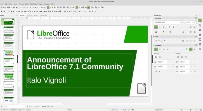 Impress no LibreOffice 7.1 (imagem: divulgação/TDF)