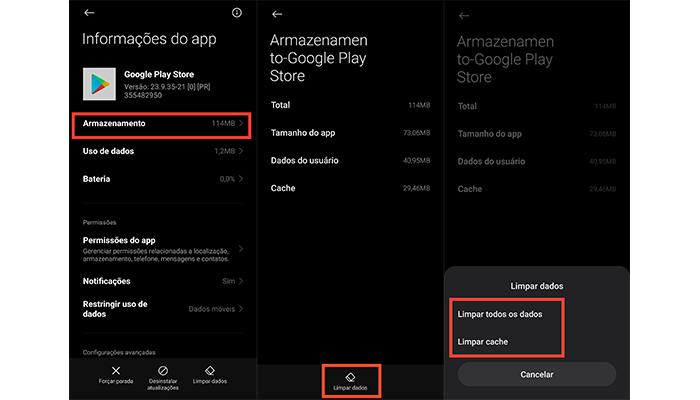Processo para limpar o cache da Play Store (Imagem: Reprodução/MIUI 12)