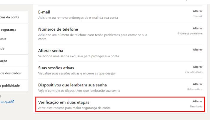 Processo para ativar a verificação em duas etapas no LinkedIn (Imagem: Reprodução/LinkedIn)