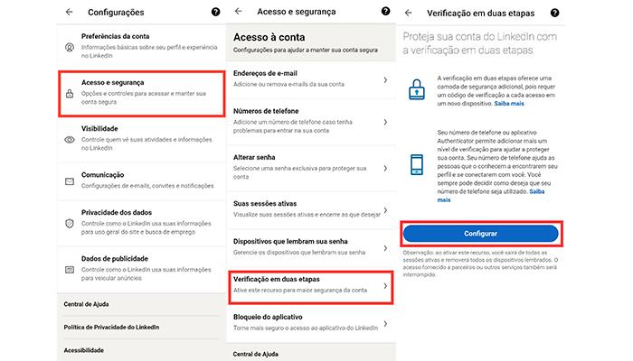 Processo para ativar a verificação em duas etapas no aplicativo do LinkedIn (Imagem: Reprodução/LinkedIn)