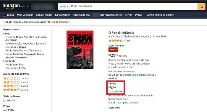 Como encontrar livros disponíveis do Kindle Unlimited / Amazon / Reprodução