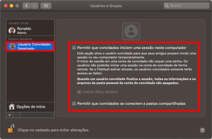 Criação de usuário convidadeo no macOS (Imagem: Reprodução/Apple)