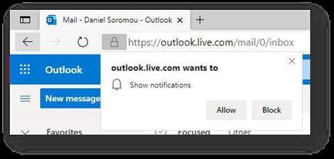 Solicitação para ativar notificação no Microsoft Edge (Imagem: Reprodução/Microsoft)