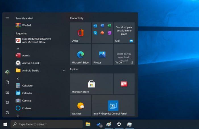 Provável menu Iniciar do Windows 10 21H1 (Imagem: reprodução/Windows Latest)