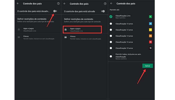 Processo para ativar o controle dos pais na Play Store (Imagem: Reprodução/Play Store)