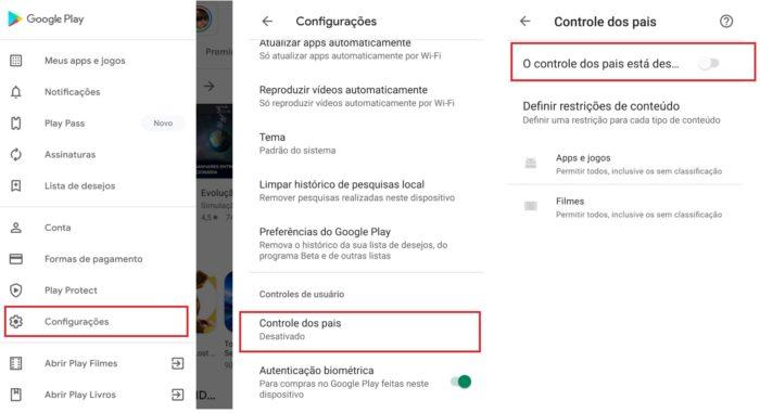 É possível desativar o Controle dos Pais através das configurações (Imagem: Reprodução / Play Store)