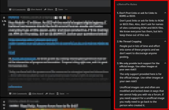 Exemplo de regras de subrreditoria, no caso, da r/Retropie (Imagem: Reprodução/Reddit)