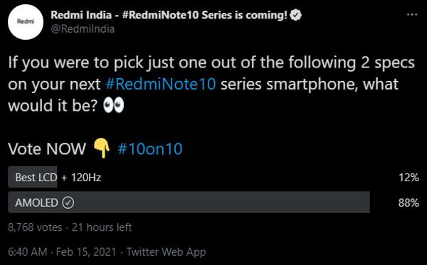 Enquete da Xiaomi sobre o Redmi Note 10 (Imagem: Reprodução/Android Authority)