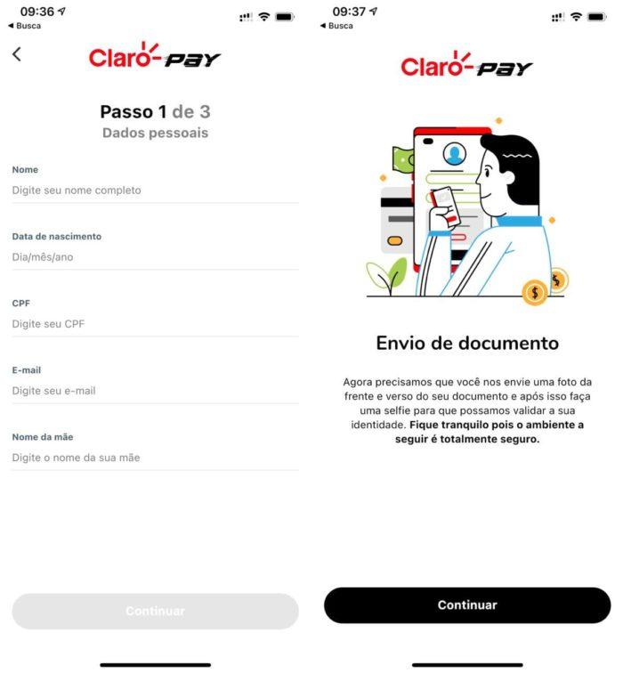 Registro no Claro Pay pede foto de documento e selfie (Imagem: Reprodução )