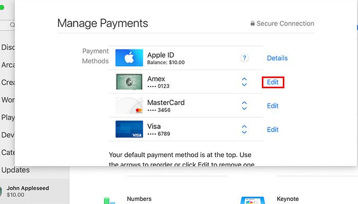 Processo para remover um cartão da Apple Store no Mac (Imagem: Divulgação/Apple)