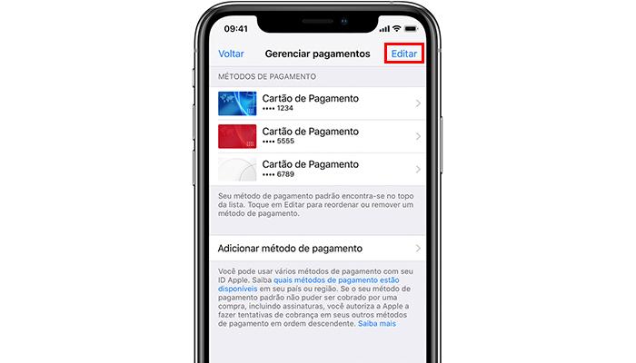 Processo para remover um cartão da Apple Store no iPhone (Imagem: Divulgação/Apple)