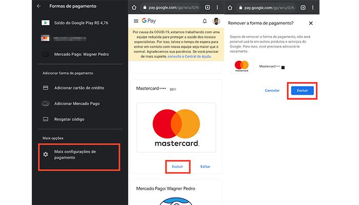 Processo para remover um cartão da Play Store (Imagem: Reprodução/Play Store)