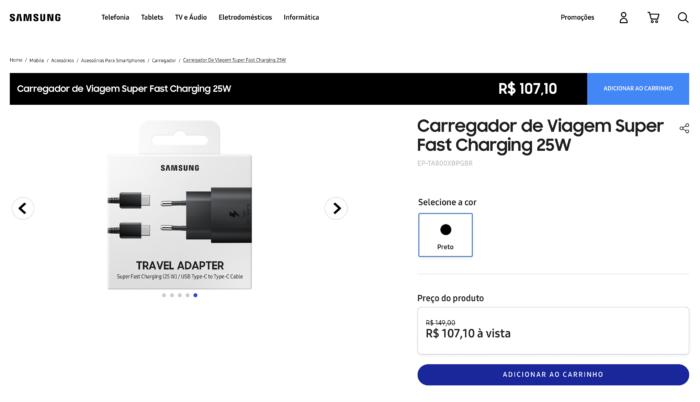 Samsung vende carregador rápido USB-C por R$ 107,10 (Imagem: Reprodução/Samsung)