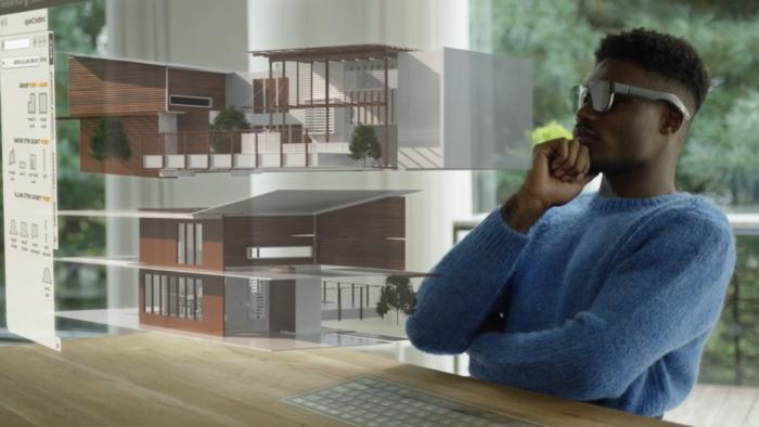 Conceito de escritório em realidade aumentada (Imagem:Reprodução/WalkingCat/Twitter)