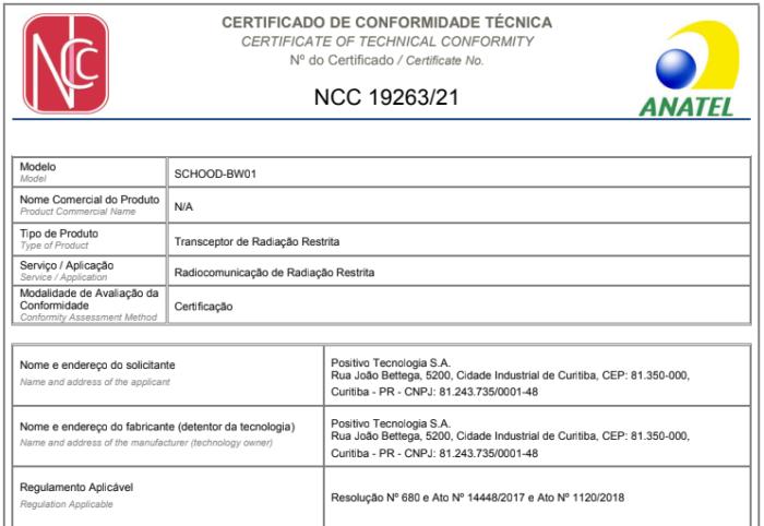 Certificado do Schood na Anatel (Imagem: Reprodução/Anatel)