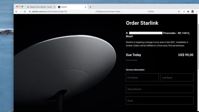 Starlink já permite pagamento de reserva com endereços brasileiros (Imagem: Reprodução/SpaceX)