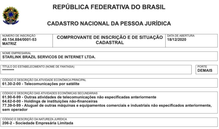 Starlink já tem CNPJ para funcionar no Brasil (Imagem: Reprodução/Receita Federal)
