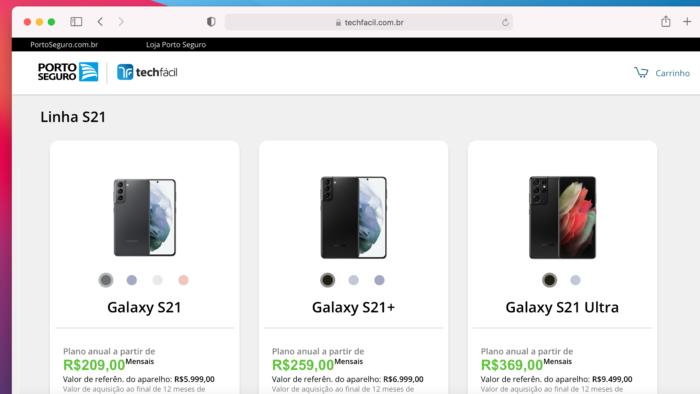 Linha Galaxy S21 é vendida por assinatura (Imagem: Reprodução / Tech Fácil)
