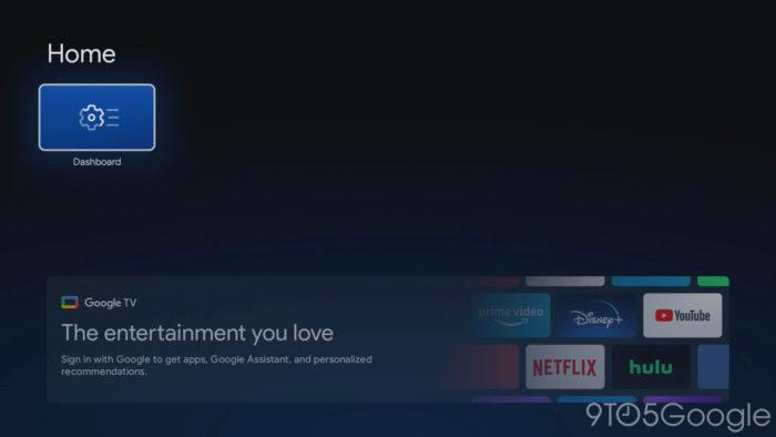 Tela inicial do Google TV básico (Imagem: reprodução/9to5Google)