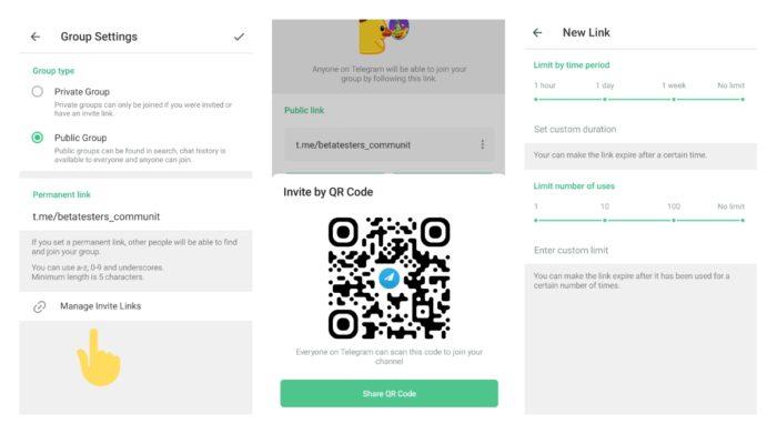 Convites para grupos no Telegram (capturas: TestingCatalog)