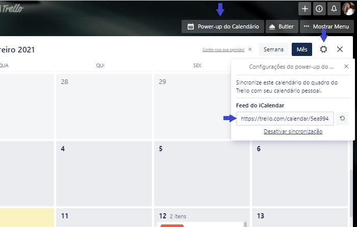 É possível sincronizar a agenda do Trello com apps compatíveis com o fluxo iCalendar (Reprodução/Gabrielle Lancellotti)