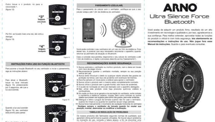 Manual do Ventilador Arno Ultra Silence Force com Bluetooth (Imagem: Reprodução/Arno)