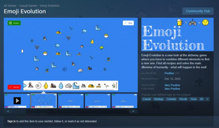 Página do jogo do Very Positive no Steam (Imagem: Reprodução)