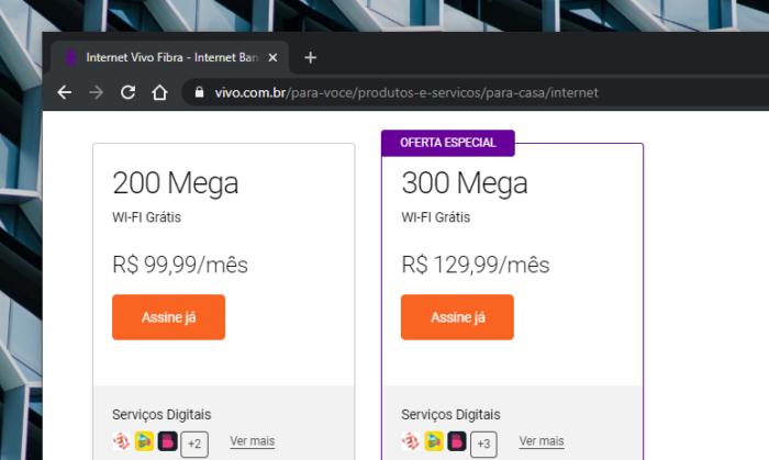 Vivo Fibra de 200 Mb/s passa a custar R$ 99,99 por mês (Imagem: Reprodução/Site Vivo)