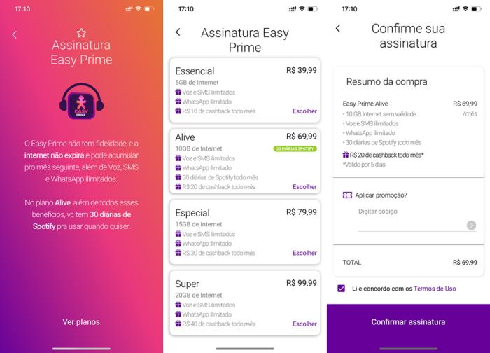 Vivo Selfie Prime pode ser contratado direto no app (Imagem: Reprodução/Lucas Braga)