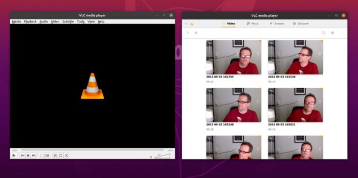 VLC 4.0 (dir.) mostra gerenciador de arquivos como tela inicial (Imagem: reprodução/Ars Technica)