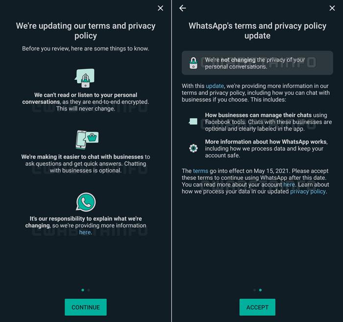 WhatsApp muda aviso sobre nova política de privacidade (Imagem: Reprodução/WABetaInfo)