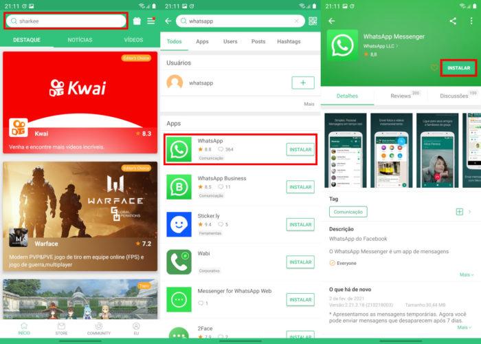 Instalando o WhatsApp pelo APKPure (Imagem: Reprodução/APKPure) / como baixar whatsapp sem play store