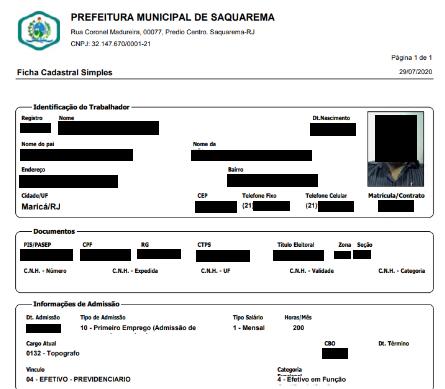 Trecho de documento vazado com dados de funcionário (Imagem: Reprodução)