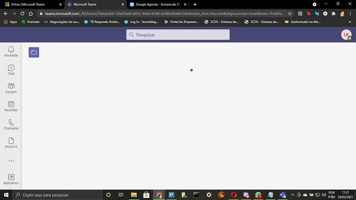 Lentidão ao abrir o Microsoft Teams pelo navegador (Imagem: Leandro Kovacs/Reprodução)