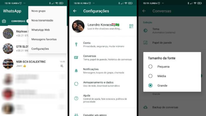 Configuração para aumentar letra dentro do WhatsApp (Imagem: Leandro Kovacs/Reprodução)