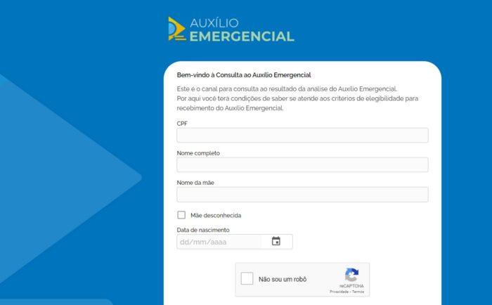Portal de consultado Auxílio Emergencial (Imagem: Reprodução/Ministério da Cidadania)