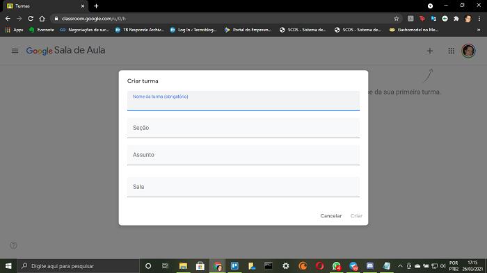 Página de criação de turma no Google Classroom (Imagem: Leandro Kovacs/Reprodução)