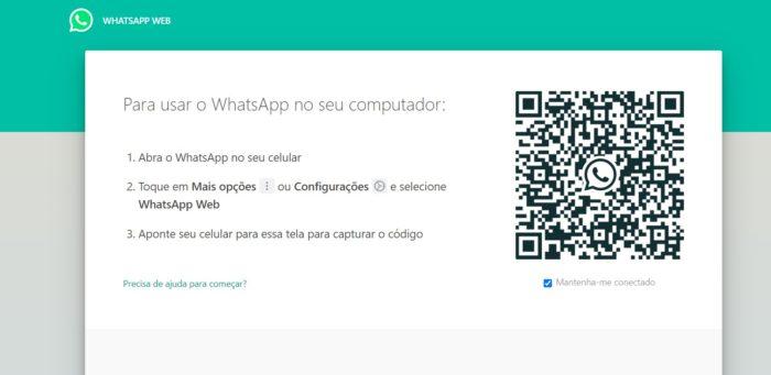 Tela inicial do WhatsApp Web (Imagem: Reprodução/WhatsApp)